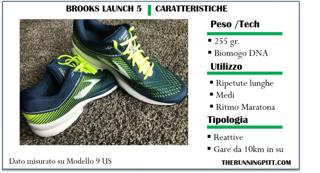 Brooks Launch 5, caratteristiche
