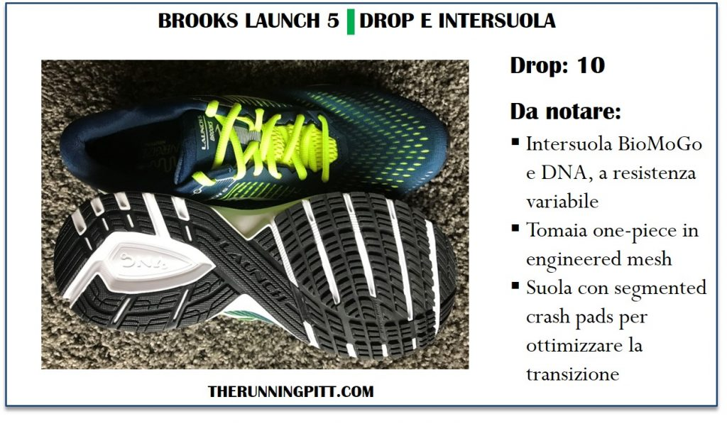 Il drop e la tecnologia delle Brooks Launch 5