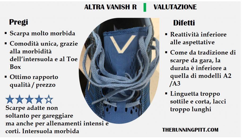 Altra Vanish, valutazione delle scarpe