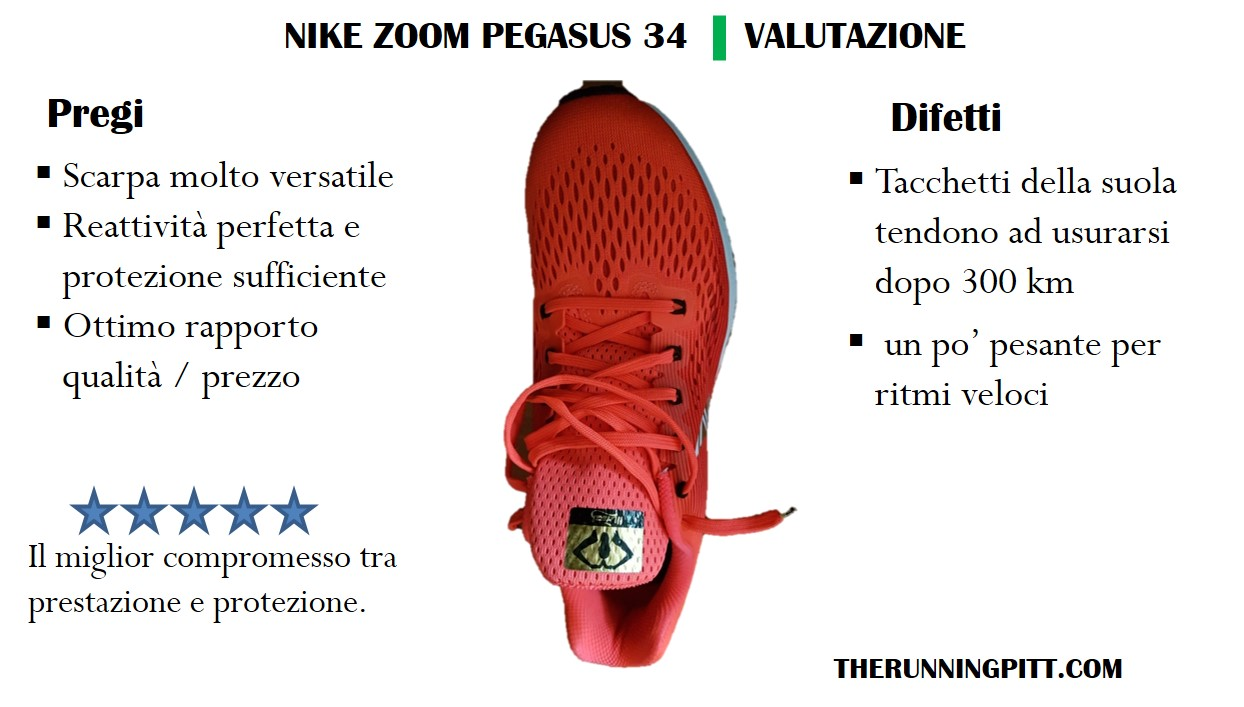 Nike Zoom Pegasus 34, la recensione dettagliata The
