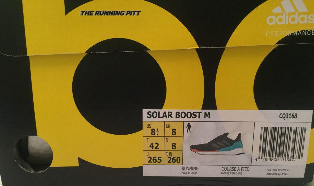 Scatola Adidas Solar Boost